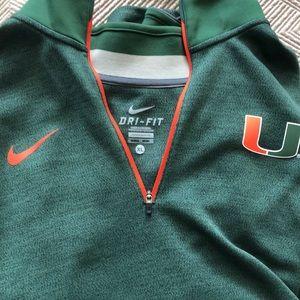 Long Sleeve Nike NCAA Miami Hurricanes 1/4 Zip
